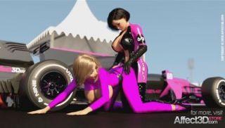 Lesbian futanari babes having sex in a sportcar racing