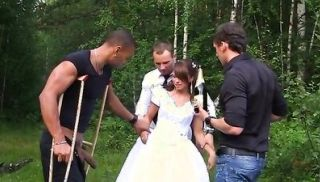 The groom the bride fucked hard in the woods