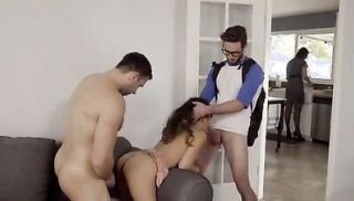 Cock craving Latina Jasmine Gomez is spanked by her stepdad and fucked i...