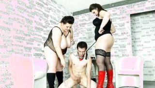 Chubby fem doms pegging sub in plumper trio