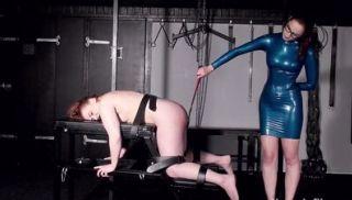 Lezdomme latex mistress Katarinas bound slavegirl Isabel Dean spanked