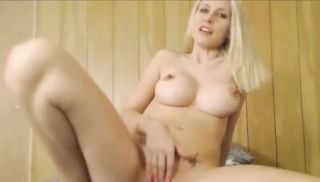 Hot Blonde with Big Tits and Ass Fucks Thick Dildo