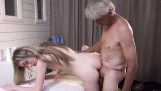 OLDJE - Skinny Teen Massage has sex with grandpa and sucks cock