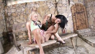 Blonde hottie gets dominated and licked by a hardcore lesbian