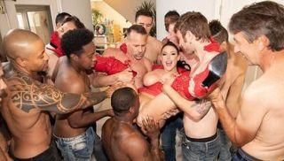 Jules Jordan - Swarmed by 13 Guys Angela White\'s Biggest Blowbang ever