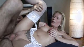 Busty MILF keeps her stockings on for anal