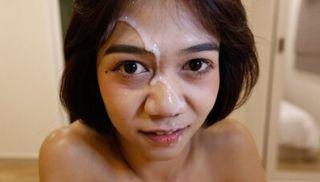 18yo Thai ladyboy gets cum facialized by white cock