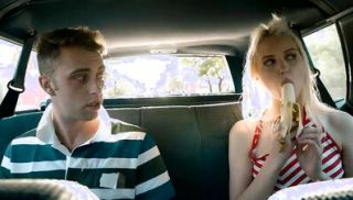 Stepsiblings sex in the back of the car with the parents in the front