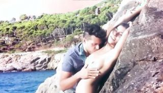 Eating photo models pussy on the beach then fucking her