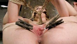 Teen in tight rope bondage toyed