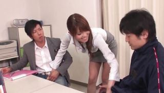 Japanese babe has a hard threesome in the teacher\'s lounge