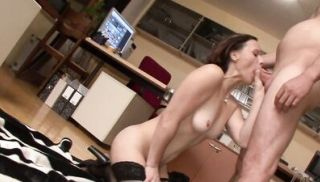 Brunette MILF gets cum all over her face