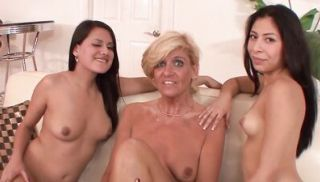 Blonde MILF & her stepdaughter seduce the maid